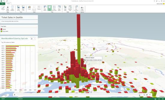 微软发布基于Excel的3D可视化数字地图应用